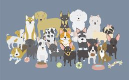 Illustration of dogs breed collection Royalty Free Stock Photo