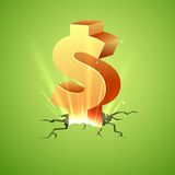 Rising Dollar. Illustration of Dollar coming out of cracked surface Royalty Free Stock Image