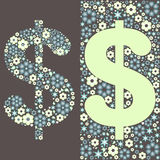 Illustration of dollar floral pattern Stock Photos