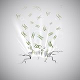 Dollar Blast. Illustration of Dollar note coming out of cracked surface Stock Photo