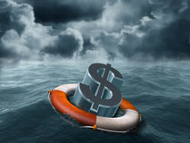 Dollar rescue. Illustration of a dollar symbol being saved from stormy weather Royalty Free Stock Photos
