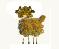 Illustration of Dolly the sheep of trees Royalty Free Stock Photo