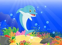 Illustration of Dolphin with a beautiful underwater world Royalty Free Stock Photography