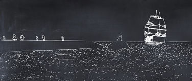 Illustration dolphin, boat and penguins painted on a blackboard. 3d illustration dolphin, boat and penguins painted on a blackboard Royalty Free Stock Image