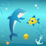 Illustration of Dolphin with Fish and Jellyfish on Underwater Ba stock illustration