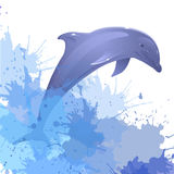 Illustration with dolphin and watercolor splashes Royalty Free Stock Photography