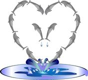 Illustration of Dolphins in a heart shape. Dolphins in the formation of a heart, jumping out of the water, in frolic Stock Photography