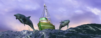 illustration of dolphins jumping in the sea Royalty Free Stock Photography
