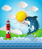 Illustration of the dolphins in sea on the sunlight. Stock Images