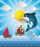 Illustration of the dolphins in sea on the sunlight. Royalty Free Stock Images