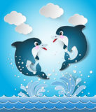 Illustration of the dolphins in seascape cut style. Royalty Free Stock Image