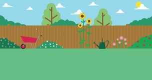 Illustration Of Domestic Garden For Background Use vector illustration