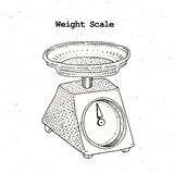 Illustration of a domestic weigh scales. Hand drawn vector vintage illustration. Kitchenware Royalty Free Stock Images
