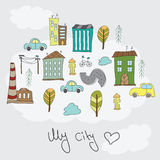 Illustration of doodle colorful houses Stock Photo