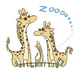Illustration of doodle cute giraffes, hand drawn graphic royalty free illustration