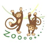 Illustration of doodle cute monkeys, hand drawn graphic. Vector cartoon royalty free illustration