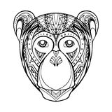 Illustration Doodle monkey and boho pattern Royalty Free Stock Photos