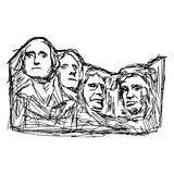 Illustration doodle  Mount Rushmore Stock Images