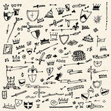Illustration of doodles on a sheet of lined paper Royalty Free Stock Image