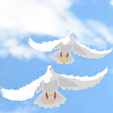 Illustration of doves with rings Stock Image
