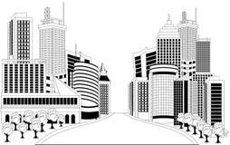Illustration of downtown skyline Stock Image