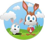 Illustration drôle avec le lapin de Pâques Photographie stock