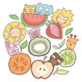 Illustration drôle d'animaux et de fruits illustration libre de droits
