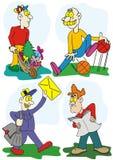 Illustration drôle de dessin animé de types illustration stock