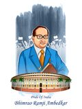 Dr Bhimrao Ramji Ambedkar with Constitution of India for Ambedkar Jayanti on 14 April. Illustration of Dr Bhimrao Ramji Ambedkar with Constitution of India for Stock Photo
