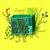 Illustration drôle d'art, TV envahie avec l'herbe, fleurs, feuillage Illustration Stock