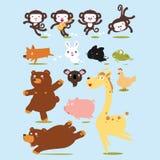 Illustration drôle de bande dessinée de vecteur d'animaux Image libre de droits
