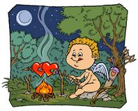 Illustration drôle de cupidon - version de couleur Photos stock