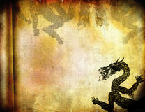 Illustration of dragon. Grunge illustration of dragon on paper background Royalty Free Stock Photos