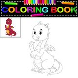 Dragon coloring book. Illustration of dragon coloring book Royalty Free Stock Image