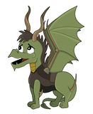 Illustration of a dragon hunter Stock Images