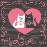 Illustration draw character design couple love of cat in valentine day and word love.  Royalty Free Stock Photography