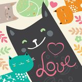 Illustration draw character design couple love of cat in valentine day and word love.  Stock Photo