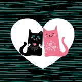 Illustration draw character design couple love of cat in valentine day and word love.  Royalty Free Stock Photo