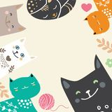 Illustration draw character design couple love of cat in valentine day and word love.  Stock Photography