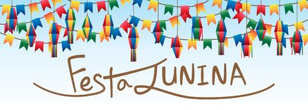 Festa Junina flag lantern hang sky banner. This illustration is drawing abstract brown hat calligraphy Festa Junina with decoration flag and lantern hang in sky Stock Photos