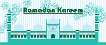 Ramadan Kareem India Delhi extend banner. This illustration is drawing abstract India Delhi extend Ramadan Kareem with fireworks in green theme banner size Stock Images