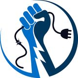 Hand power logo. Illustration drawing art a hand power logo with white background Stock Photos