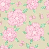 Butterfly flower pastel color seamless pattern. This illustration is drawing butterfly, flower and leaf in pastel color seamless pattern background Stock Photo