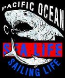 Illustration drawing dangerous shark. Vector illustration. Fashion style royalty free illustration
