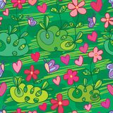 Flower field style butterfly seamless pattern. This illustration is drawing and design stylish field with decoration loves and butterflies in green color Royalty Free Stock Photos