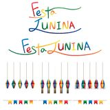 Festa Junina flag lantern hang set. This illustration is drawing Festa Junina calligraphy with flag and lantern colorful hang set on white color background Royalty Free Stock Photography