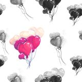 Illustration drawing heart balloons black and white seamless pattern. Bundles of balls flying up. For valentines day Stock Images