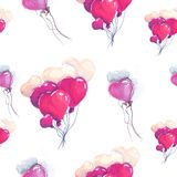 Illustration drawing heart balloons purple seamless pattern. Bundles of balls flying up. For valentines day Stock Photography