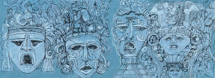 Drawing of Mexican masks banner Royalty Free Stock Image