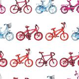 Illustration drawing seamless pattern with blue, purple, red bicycle. Go right Royalty Free Stock Photos